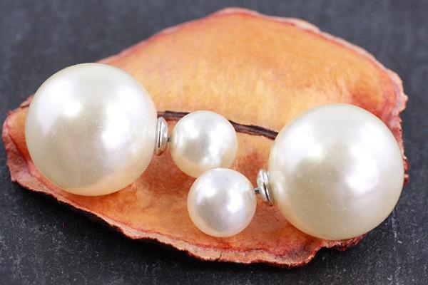 Doppel Perlen Ohrstecker, creme glänzend, Perlen ca. 16 und 8mm