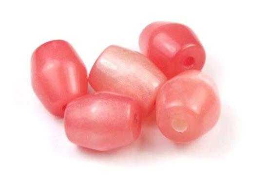 Perlen aus Resin, Tönnchen, koralle, 12x10mm