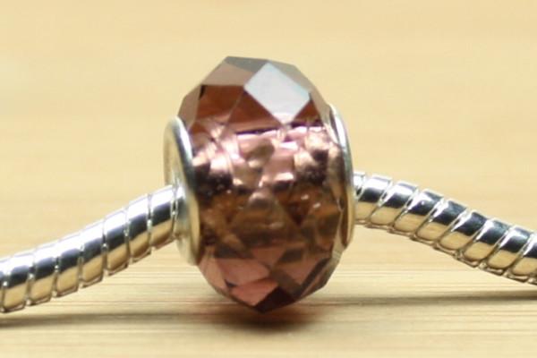 Modulperlen, amethyst, facettiertes Kristallglas