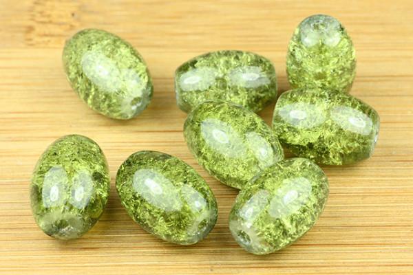Crashperlen, Oliven, olivgrün, 14x10mm