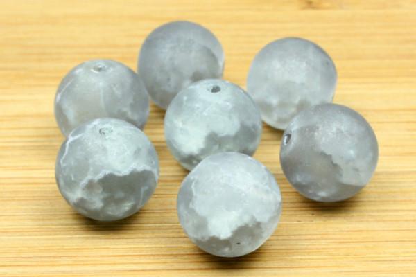 Glasperlen, silbergrau marmoriert, 12mm