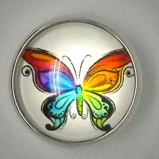 Druckknopf, bunter Schmetterling, ca. 20mm