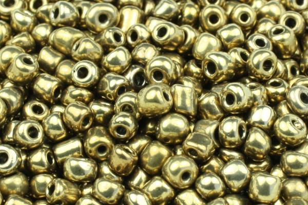 Rocailles, rund, dunkelgoldfarben metallic, 15gr, 6/0, 4mm