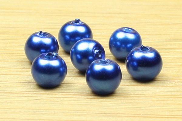 Glaswachsperlen, metallicblau, 4mm