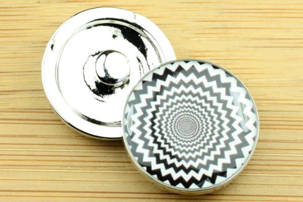 Schmuck Druckknöpfe, schwarz-weiß Muster, 20mm