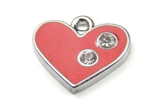 Anhänger, Herz mit Emaille und Strass, rot, 16x12mm