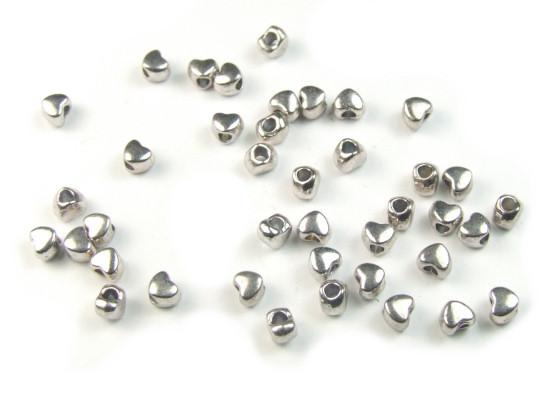 Metallperlen, Miniherzen, silberfarben, 4mm