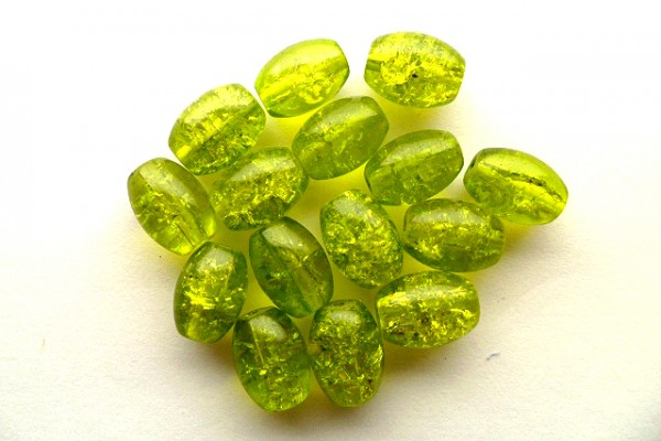 Crashperlen, Oliven, oliv, ca. 11x8mm