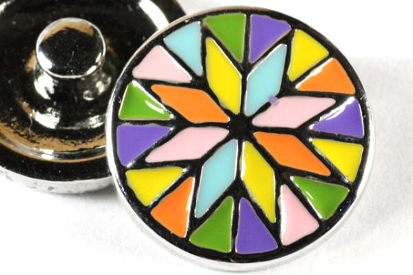 Click-Button, Blume, bunt, 20mm
