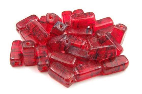 Glasperlen, Rechtecke, rubinrot marmoriert, 12x5mm