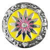 Druckknopf, Stern mit Strass, gelb/rosa/silberfarben, 20mm