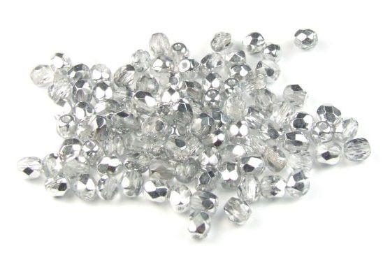 Böhmische Glasschliffperlen, silberfarben AB, 4mm, 50 Stück
