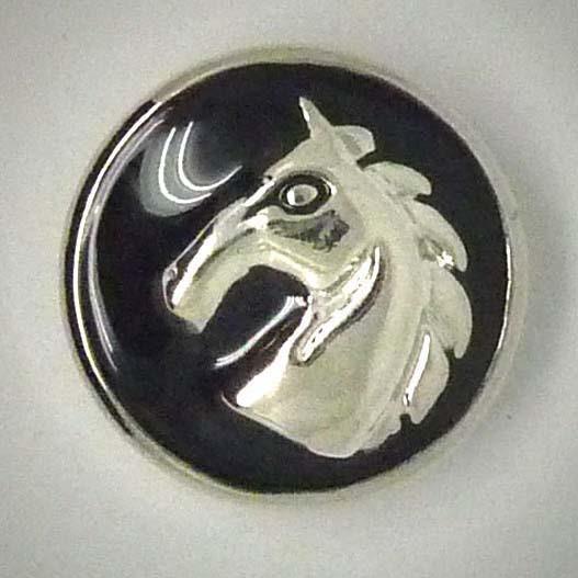 Druckknopf, Pferdekopf, schwarz/silberfarben, 20mm