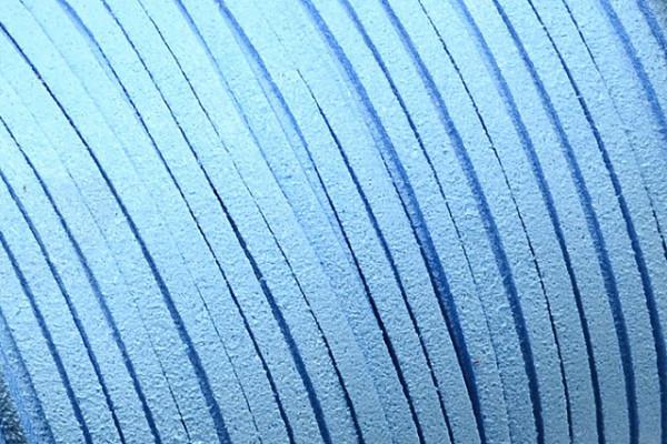 Veloursband in Wildlederoptik, flach, himmelblau, ca. 3x1.4mm