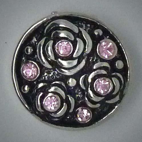 Druckknopf, Rosen, rosa glitzernden Steinchen, 20mm
