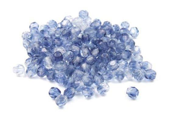 25 Glasschliffperlen, zweifarbig, montana-himmelblau, 4mm
