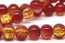 Glasperlen mit Crash Effekt, rund, rot-gelb, ca. 10mm