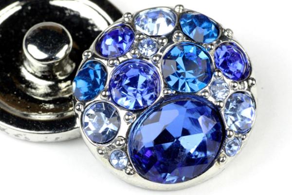 Click-Button, blauer Strass, 20mm