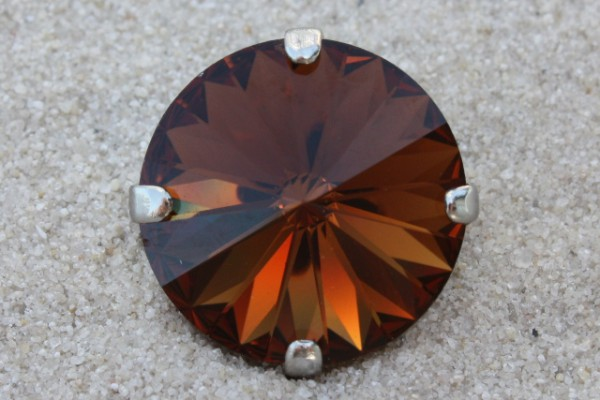 SWAROVSKI® ELEMENTS 1122 - Rivoli im Kessel, Smoked Topaz, 14mm