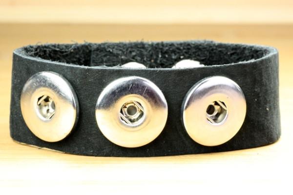 Lederarmband für 3 Druckknöpfe, weich, schwarz, 22cm