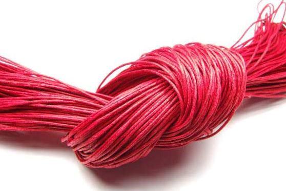 Baumwollband, gewachst, rot, 1.0mm