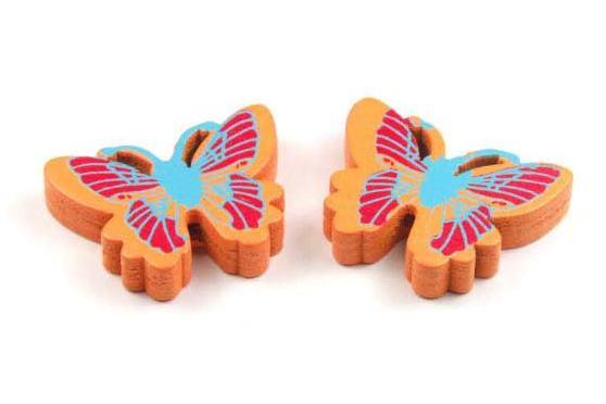 Holzperlen, Schmetterling, orange, 25x20x5mm