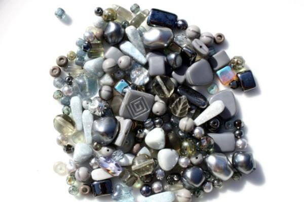Perlenmix, böhmisch, grau, 100 Gramm