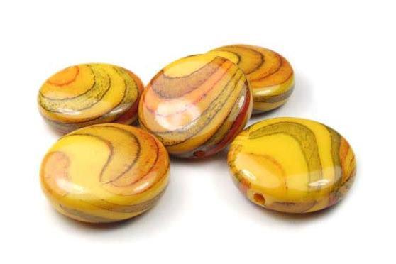 Acrylperlen, Taler, goldgelb marmoriert, 27mm