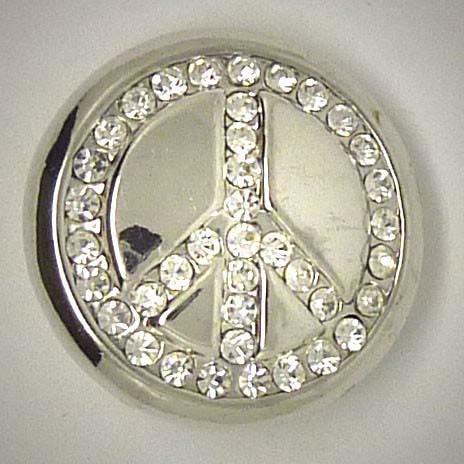 Click-Button, Peace-Zeichen mit Strass, ca. 20mm
