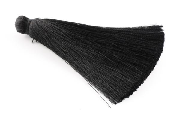 Troddel, Seide, XL, schwarz, 7cm