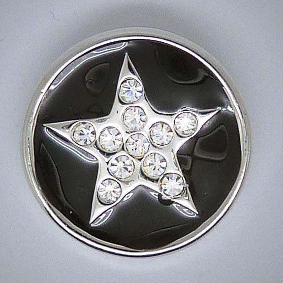 Druckknopf, Stern mit Strass, schwarz-silberfarben, ca. 20mm