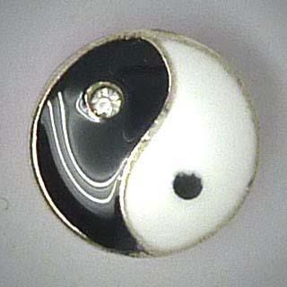 Mini Click-Button, Yin und Yang mit Glassteinen, schwarz/weiß, ca. 13mm