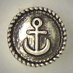 Mini Druckknopf, Anker, silber/teils geschwärzt, ca. 13mm