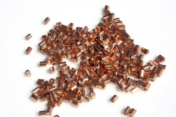 Rocailles, 2-cut, Glanz kupfer, 2.5mm