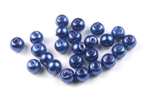 Glaswachsperlen, marineblau, 4mm
