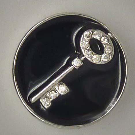 Druckknopf, Schlüssel mit Strass, schwarz/weiß, ca. 20mm