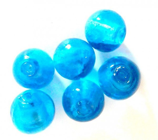Glasperlen mit Silberfolieneinzug, rund, blau, ca. 15mm
