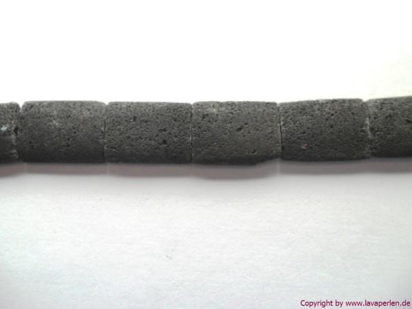 Lava-Rechtecke, 1 Strang, schwarz, naturbelassen, 14x18mm