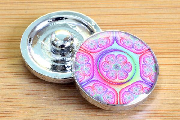 Click-Button, pink-lila-Töne, Blüten, 20mm