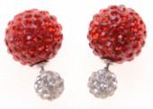 Shamballa Doppel Perlen Ohrstecker, rot-weiß