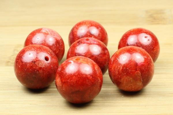 Schaumkoralle, rot, poliert, 14mm