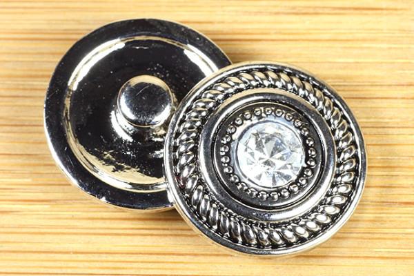Druckknopf, mit Strass, silber-schwarz, ca. 20mm
