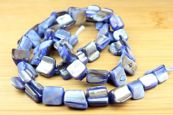 Muschelperlen, 1 Strang - Nuggets - blau, 6-8mm