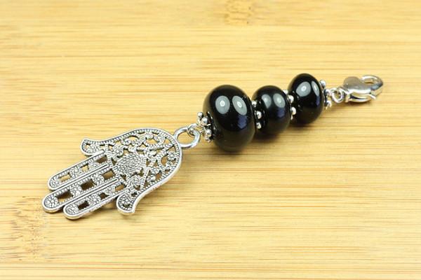 Wechselanhänger, Hand der Fatima mit schwarzem Achat