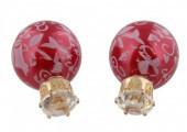 Doppelperlen Ohrringe, rot mit Verzierung, Perle und Facette