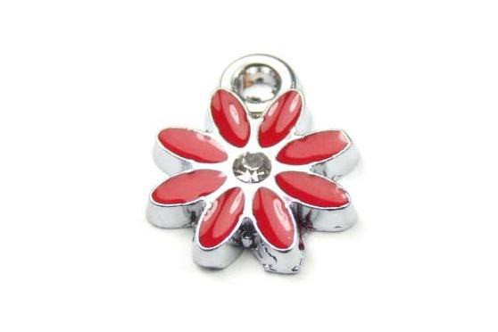Anhänger, Blüte mit Emaille, rot, 12mm