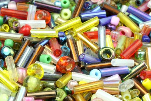 Rocailles, Mix, Stäbchen + Perlen, bunt, 2-6mm