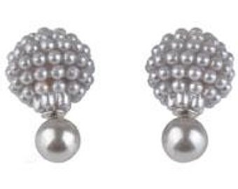 Doppelperlen Ohrstecker, Grau, Perlen 15 und 8mm
