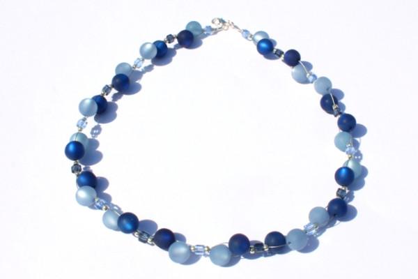 Halskette, Polarisperlen, dunkelblau-petrol