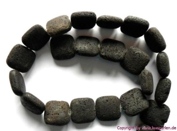 Lava Kissen, Perlenstrang, schwarz natur, 17x17x8mm